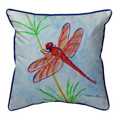 Ferro Red Dragonfly Indoor/Outdoor Throw Pillow Size: Large