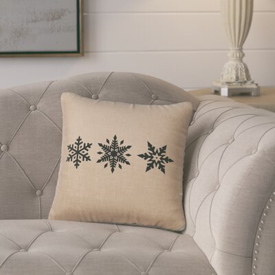 Leffel 3 Snowflakes Throw Pillow Color: Natural