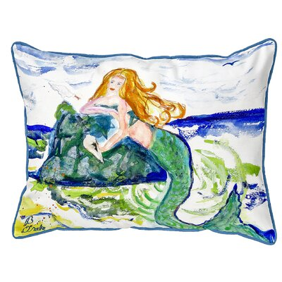 Henegar Mermaid on Rock Indoor/Outdoor Lumbar Pillow Size: Extra Large