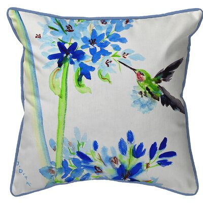 Ferro Hummingbird and Flowers Indoor/Outdoor Throw Pillow Size: Small