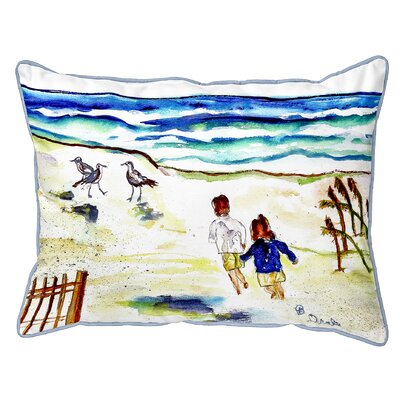 Henegar Running at the Beach Indoor/Outdoor Lumbar Pillow Size: Extra Large