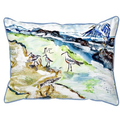 Henegar Sandpipers and Heron Indoor/Outdoor Lumbar Pillow Size: Small
