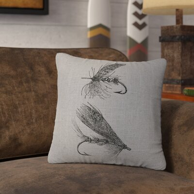 Nagao Flies Throw Pillow Color: Gray
