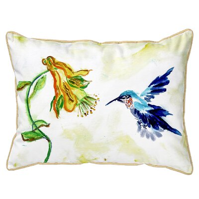 Fessler Hummingbird and Flower Indoor/Outdoor Lumbar Pillow Size: Large