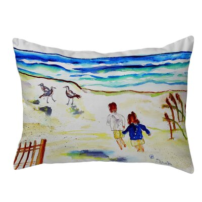 Henegar Running at the Beach Indoor/Outdoor Lumbar Pillow