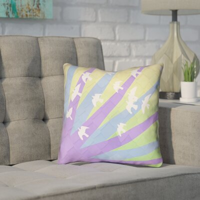 Enciso Birds and Sun Faux Leather Throw Pillow Color: Purple/Blue/Yellow, Size: 18 H x 18 W