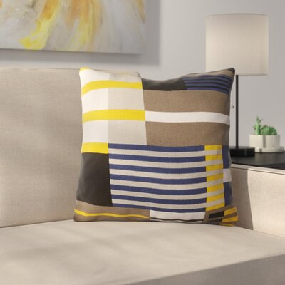 Tevin 100% Cotton Throw Pillow Size: 18 H x 18 W x 4 D, Color: Sunflower, Filler: Down