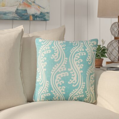 Harriet Coastal Cotton Throw Pillow Color: Aquamarine