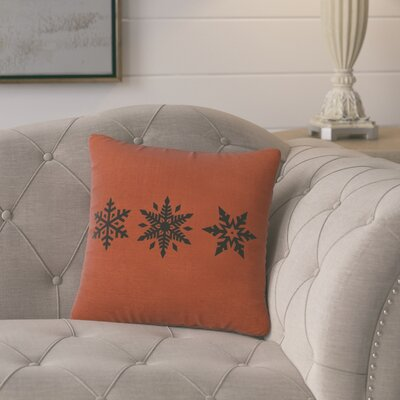 Leffel 3 Snowflakes Throw Pillow Color: Paprika