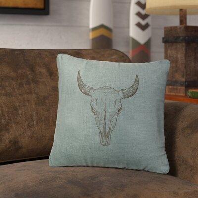 Lansdown Bull Skull Throw Pillow Color: Ocean