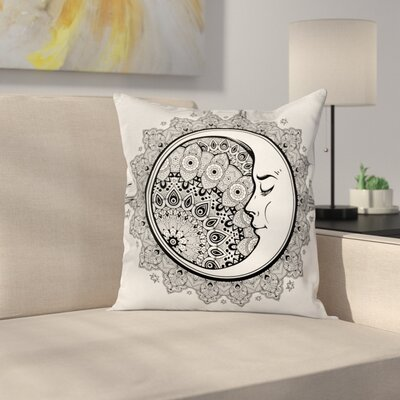 Fabric Mandala Moon Bohemian Square Pillow Cover Size: 16