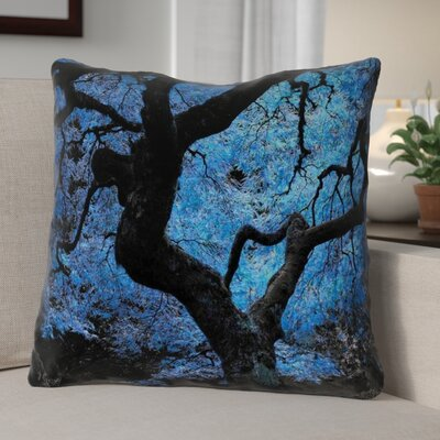 Ghost Train Modern Blue Japanese Maple Tree Throw Pillow Size: 16