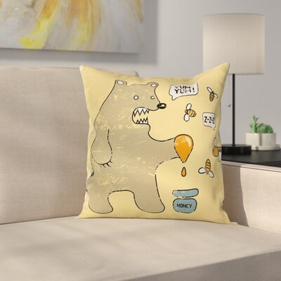 Bear and Bees Pillow Cover Size: 24 x 24