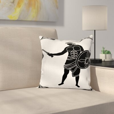 Ancient Swordsman Square Cushion Pillow Cover Size: 16 x 16
