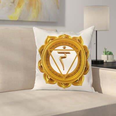 Eastern Chakra Symbol Square Pillow Cover Size: 16