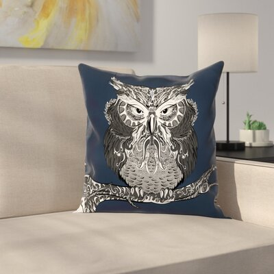 Owl Vintage Ornaments Square Cushion Pillow Cover Size: 16 x 16