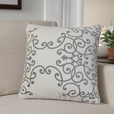 Khiry Floral Cotton Throw Pillow Color: Charcoal, Size: 24 H x 24 W