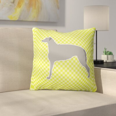 Scottish Deerhound Square Indoor/Outdoor Throw Pillow Size: 14 H x 14 W x 3 D, Color: Green
