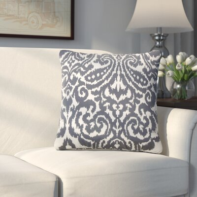 Millington Ikat Cotton Throw Pillow Color: Navy