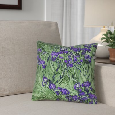 Morley Irises Double Sided Print Throw Pillow Size: 18 x 18, Color: Green/Purple