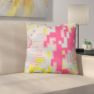 Wallace Cotton Throw Pillow Size: 18 H x 18 W x 4 D, Color: Hot Pink / Lime / Aqua / Light Gray