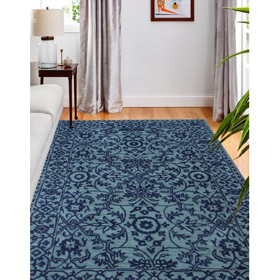 Hiebert Hand-Woven Wool Blue Area Rug Rug Size: Rectangle 76 x 96