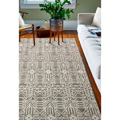 Lonergan Hand-Woven Wool Taupe Area Rug Rug Size: Rectangle 76 x 96