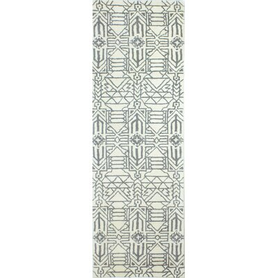 Lonergan Hand-Woven Wool Ivory/Gray Area Rug Rug Size: Runner 26 x 8