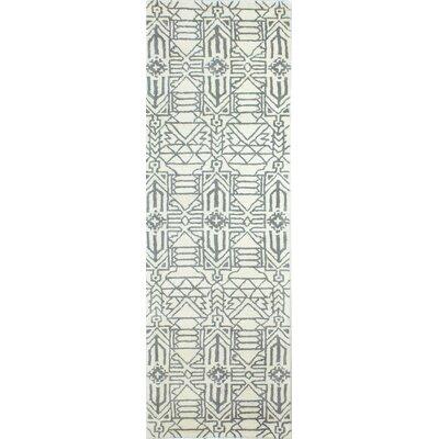 Lonergan Hand-Woven Wool Ivory/Gray Area Rug Rug Size: Runner 26 x 8