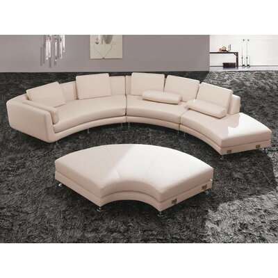 Divani Casa Modular Sectional with Ottoman Upholstery Material: Faux leather