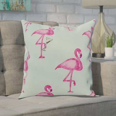 Crosswhite Flamingo Fanfare Martini Animal Print Indoor/Outdoor Throw Pillow Color: Aqua, Size: 18 x 18