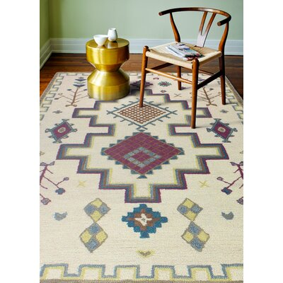 Londono Hand-Woven Wool Ivory Area Rug Rug Size: Rectangle 5 x 76