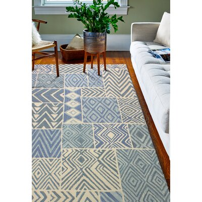 Mundell Hand-Woven Wool Light Blue Area Rug Rug Size: Rectangle 7 x 9