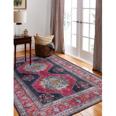 Dubbo Hand-Woven Dark Blue Area Rug Rug Size: Rectangle 77 x 96