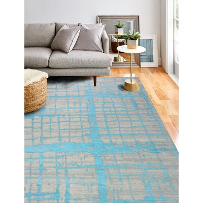 Diego Cotton Turquoise Area Rug Rug Size: Rectangle 7 x 10