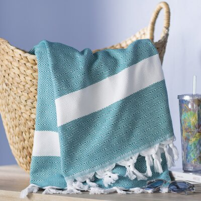 Striped Pestemal Turkish Beach Towel Color: Green