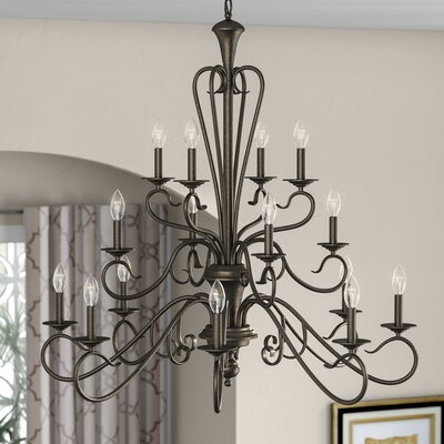 Birchview 16-Light Candle-Style Chandelier Color: Burnished Gold