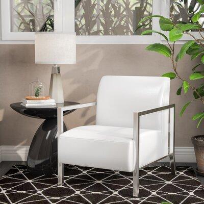 Evangeline Stainless Steel Frame Armchair Upholstery: White