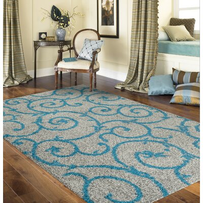 Birdsall Turquoise/Gray Area Rug Rug Size: Rectangle 9 x 12