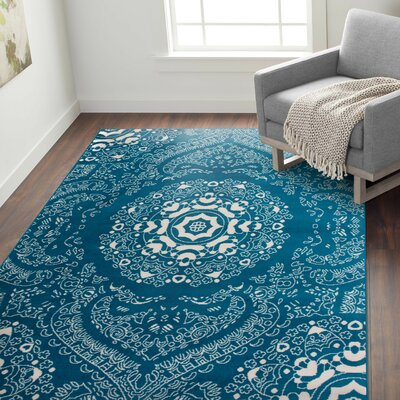 Eason Transitional Medallion Design Floral Blue Area Rug Rug Size: Rectangle 76 x 95