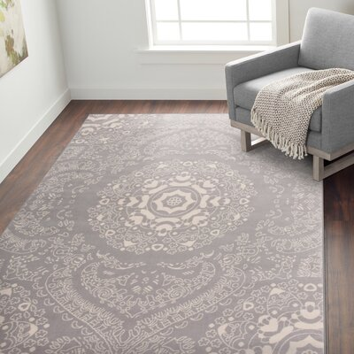 Eason Transitional Medallion Design Floral Gray Area Rug Rug Size: Rectangle 76 x 95