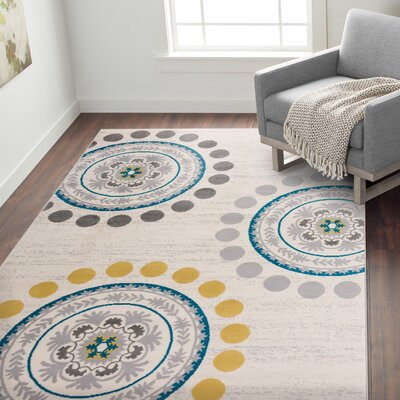 Eason Contemporary Circles and Dots Cream Area Rug Rug Size: Rectangle 76 x 95
