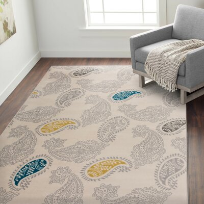 Eason Contemporary Modern Floral Paisley Pattern Cream Area Rug Rug Size: Rectangle 5 x 7