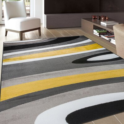 Evered Abstract Contemporary Modern Gray/Yellow Area Rug Rug Size: Rectangle 33 x 53