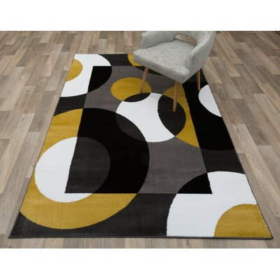 Evered Modern Circles Gray/Yellow Area Rug Rug Size: Rectangle 2' x 3'