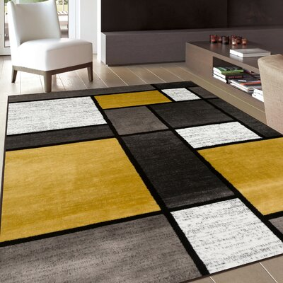 Evered Contemporary Modern Boxes Gray/Yellow Area Rug Rug Size: Runner 2 x 73