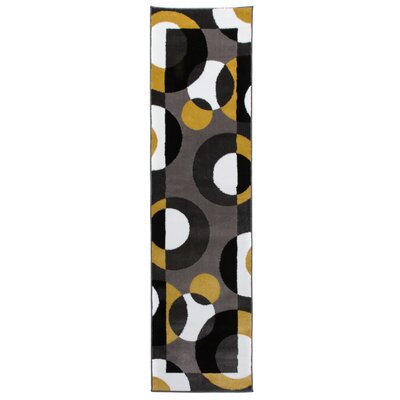 Evered Modern Circles Gray/Yellow Area Rug Rug Size: Runner 2 x 73