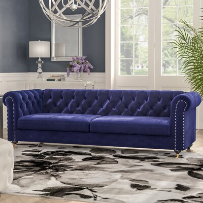 Noelia Chesterfield Sofa Upholstery: Navy, Finish: Gold