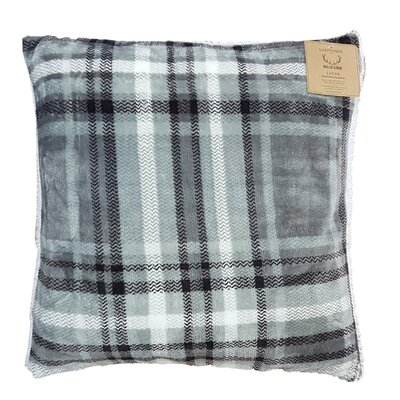 Rustic Cabin Super Soft Plaid and Sherpa Throw Pillow Color: Gray