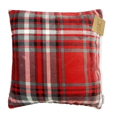 Rustic Cabin Super Soft Plaid and Sherpa Throw Pillow Color: Red